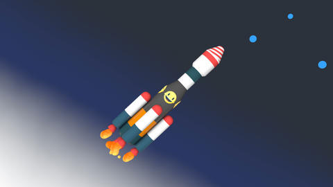 Space rocket stages separation animation Stock Video Footage