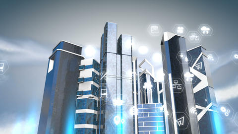 Smart city 3d background animation Animation