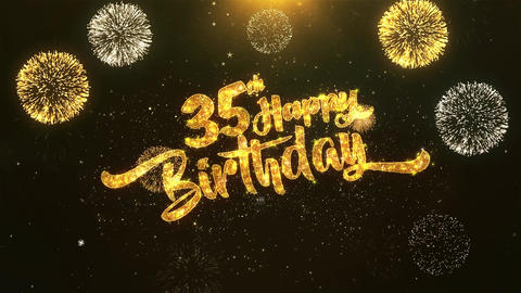 35th Happy birthday Celebration, Wishes, Greeting Text on Golden Firework GIF