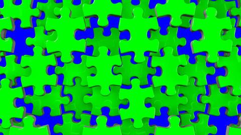 Green Jigsaw Puzzle On Blue Chroma Key Animation