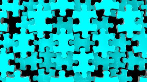 Pale Blue Jigsaw Puzzle On Black Background Animation