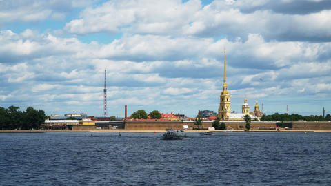 Timelapse.. Peter And Paul Fortress and panorama of Neva River in the historical Footage