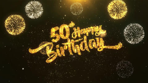 50th Happy birthday Celebration, Wishes, Greeting Text on Golden Firework Animation