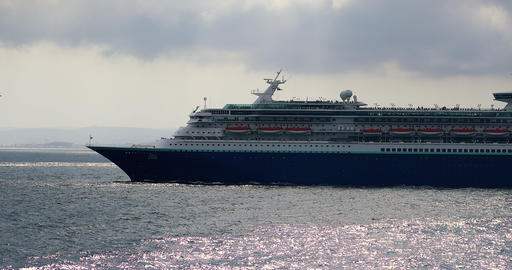 Large Cruise Ship Sovereign Sailing Across Mediterranean Footage