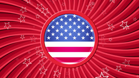 US Patriotic Stars and Stripes Red Animation