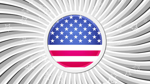 US Patriotic Stars and Stripes White Animation