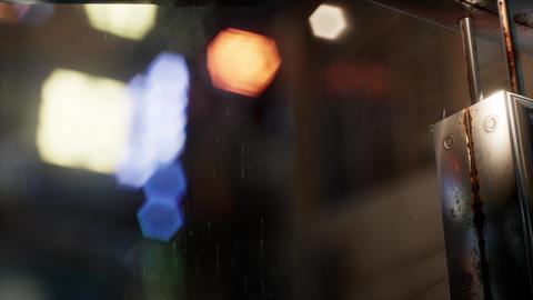 urban scene at rainy night with bokeh lights Footage