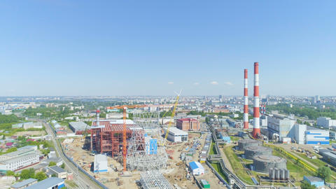 building process of construction at thermal power plant in summer Archivo