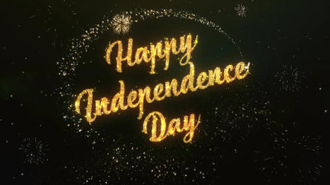 Happy Independence Day Greeting Text Made from Sparklers Light Colorfull Firewor CG動画素材