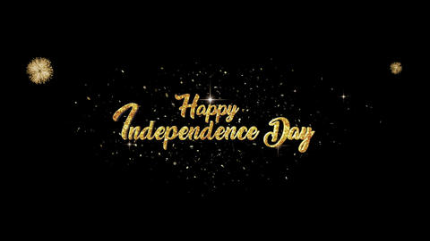 Happy Independence Day greeting Text Appearance blinking particles fireworks CG動画素材