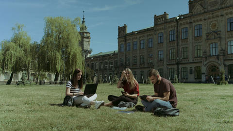 College friends using electronic devices on campus lawn Footage
