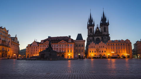 Night to day timelapse of Prague old town square in Prague city, Czech Republic Footage