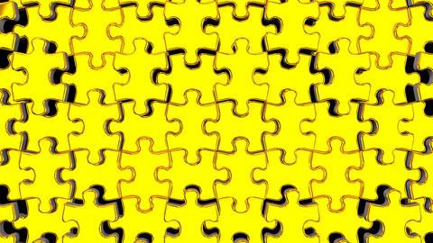 Golden Jigsaw Puzzle On Black Background Animation
