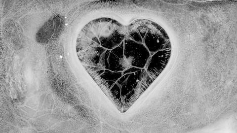 Cracking heart trapped in ice melting. Time lapse with alpha matte Footage