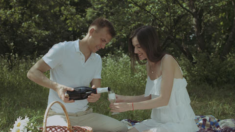 Couple pouring champagne into glasses on picnic Footage