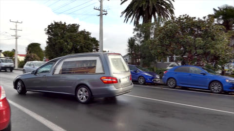 Shot of a hearse for funeral service Footage