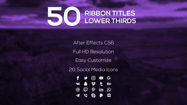 50 Ribbon Titles & Lower Thirds After Effects Template