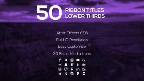 50 Ribbon Titles & Lower Thirds After Effectsテンプレート