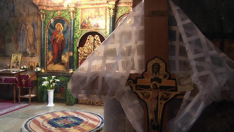 Christ's cross, the interior of the Orthodox Church Footage