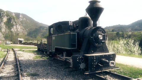 Old Steam Locomotive at the railway station ビデオ