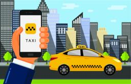 Booking taxi cab via mobile app ベクター