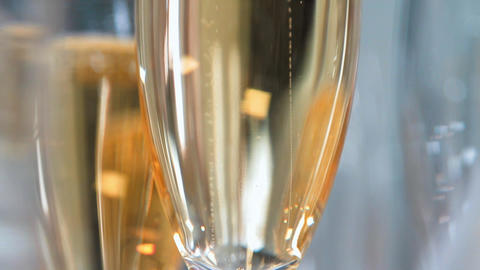 champagne glasses close up Footage