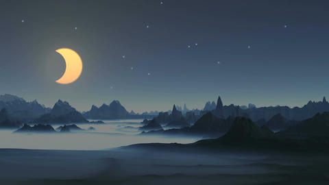 Lunar eclipse over the mountains Animation