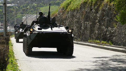 Armored Personnel Carriers Moving Live Action