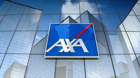 Editorial, AXA logo on glass building Animation
