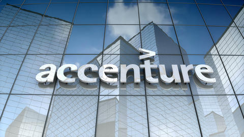 Editorial, Accenture PLC logo on glass building CG動画