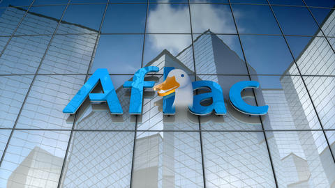 Editorial, Aflac Inc. logo on glass building Animation