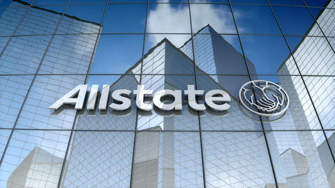 Editorial, Allstate Corporation logo on glass building Animation