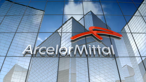 Editorial, ArcelorMittal S.A. logo on glass building Animation