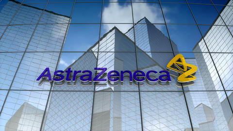 Editorial, AstraZeneca plc logo on glass building Animation
