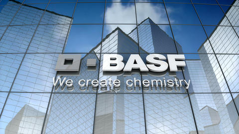 Editorial, BASF SE logo on glass building Animation