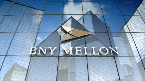 Editorial, The Bank of New York Mellon Corporation logo on glass building Animation
