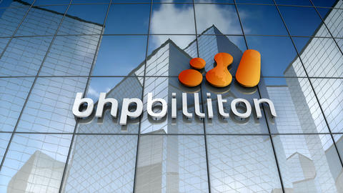 Editorial, BHP Billiton logo on glass building Animation