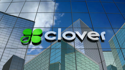 Editorial, Clover Network Inc. logo on glass building Animation