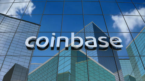 Editorial, Coinbase logo on glass building Animation