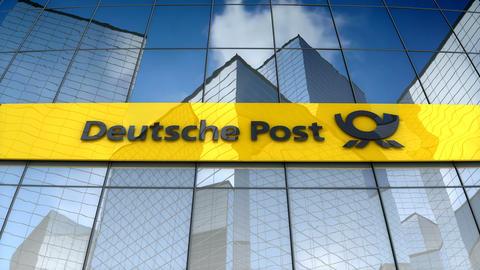 Editorial, Deutsche Post AG logo on glass building Animation