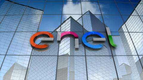 Editorial, Enel logo on glass building Animation