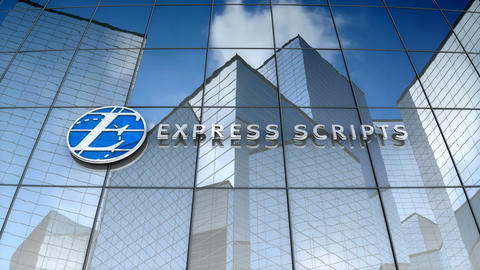 Editorial, Express Scripts Holding Company logo on glass building Animation