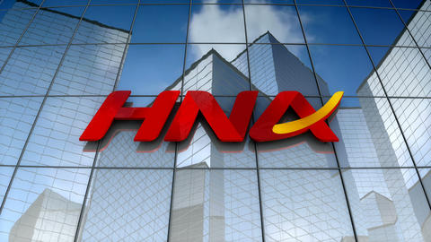 Editorial, HNA Group Co., Ltd. logo on glass building Animation