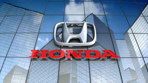 Editorial, Honda Motor Co. logo on glass building Animation