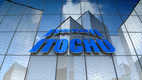 Editorial, Itochu Corporation logo on glass building Animation