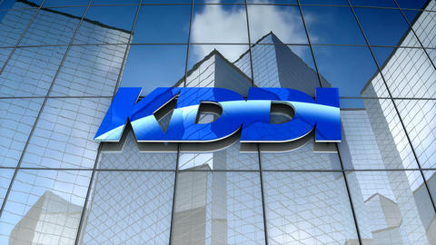 Editorial, KDDI Corporation Company Ltd logo on glass building Animation