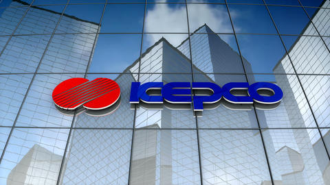 Editorial, Korea Electric Power Corporation logo on glass building Animation