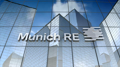 Editorial, Munich Reinsurance Company logo on glass building Animation
