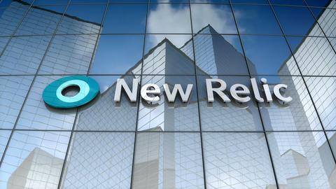 Editorial, NewRelic logo on glass building Animation