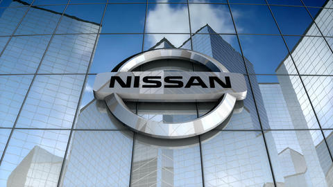 Editorial, Nissan Motor Company Ltd logo on glass building Animation